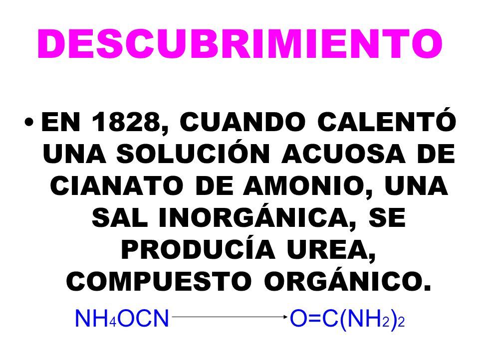 DESCUBRIMIENTO EN 1828, CUANDO CALENTÓ UNA SOLUCIÓN ACUOSA DE CIANATO DE AMONIO, UNA SAL INORGÁNICA, SE PRODUCÍA UREA, COMPUESTO ORGÁNICO.