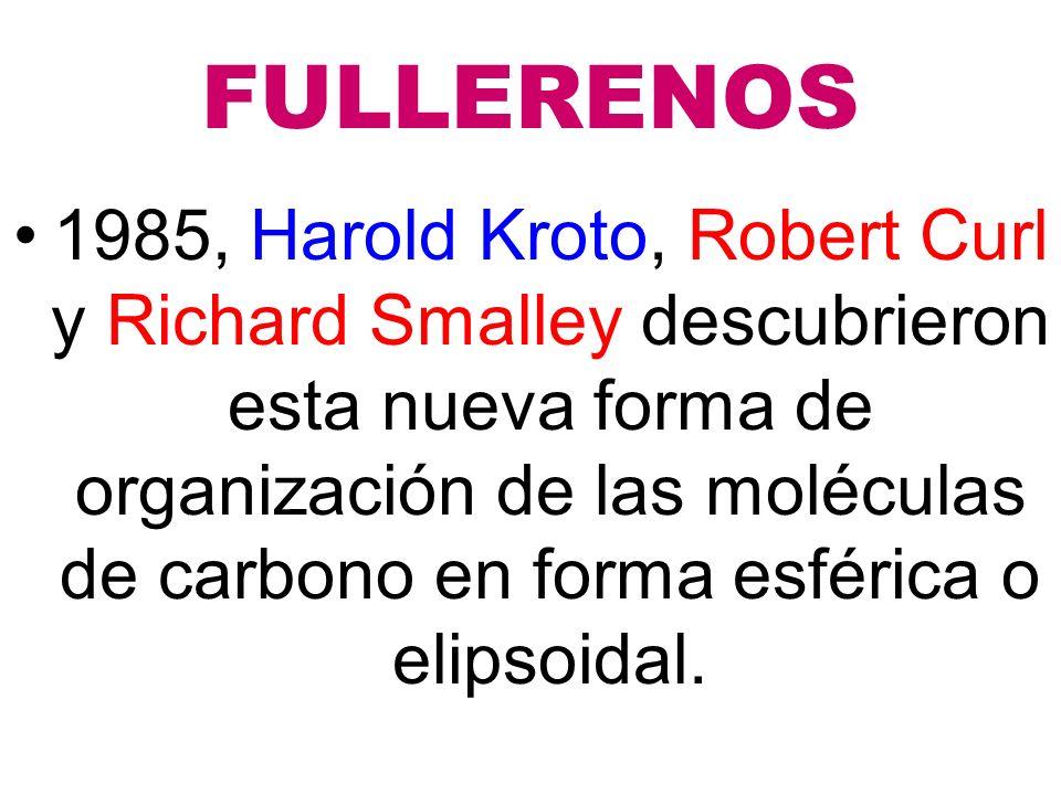FULLERENOS 1985, Harold Kroto, Robert Curl y Richard Smalley descubrieron esta nueva forma de organización de las moléculas de carbono en forma esférica o elipsoidal.
