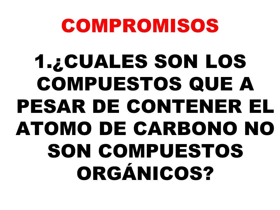 COMPROMISOS 1.¿CUALES SON LOS COMPUESTOS QUE A PESAR DE CONTENER EL ATOMO DE CARBONO NO SON COMPUESTOS ORGÁNICOS?