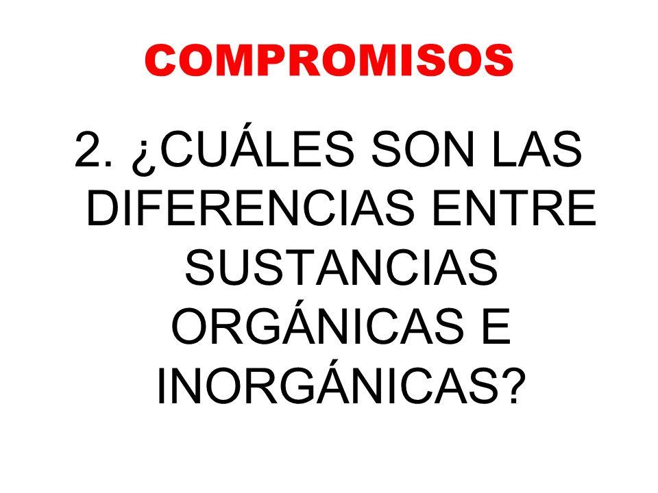 COMPROMISOS 2. ¿CUÁLES SON LAS DIFERENCIAS ENTRE SUSTANCIAS ORGÁNICAS E INORGÁNICAS?