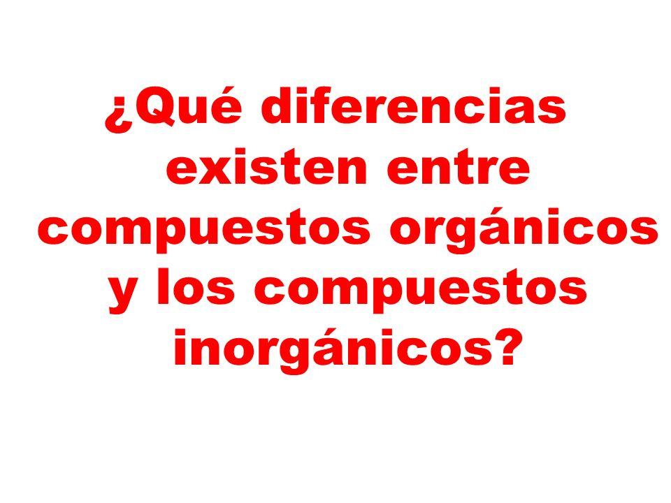 ¿Qué diferencias existen entre compuestos orgánicos y los compuestos inorgánicos?