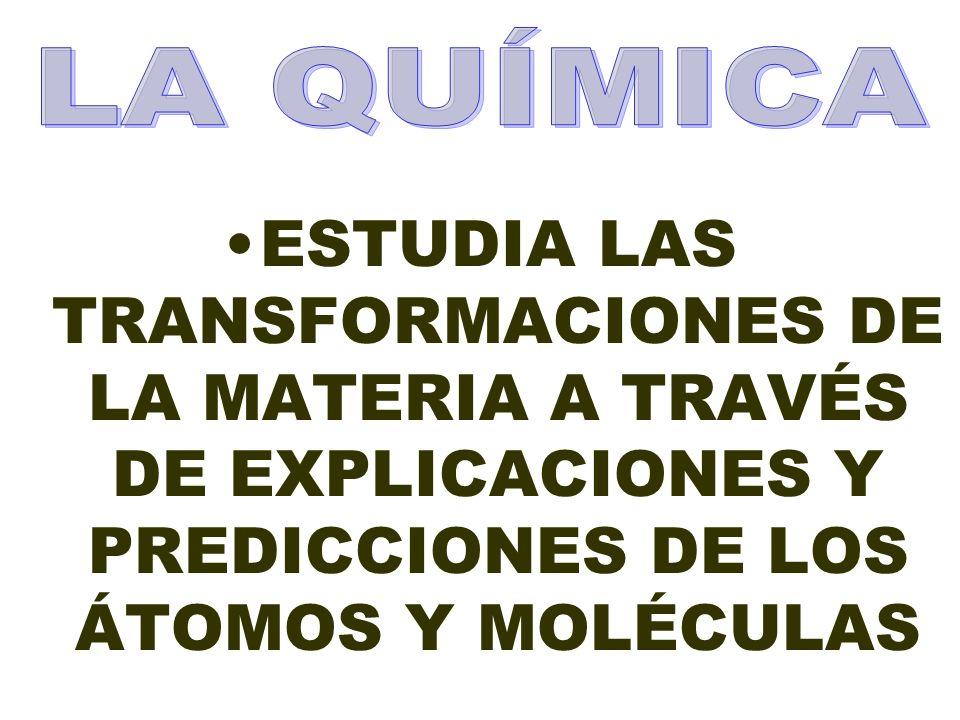 ESTUDIA LAS TRANSFORMACIONES DE LA MATERIA A TRAVÉS DE EXPLICACIONES Y PREDICCIONES DE LOS ÁTOMOS Y MOLÉCULAS
