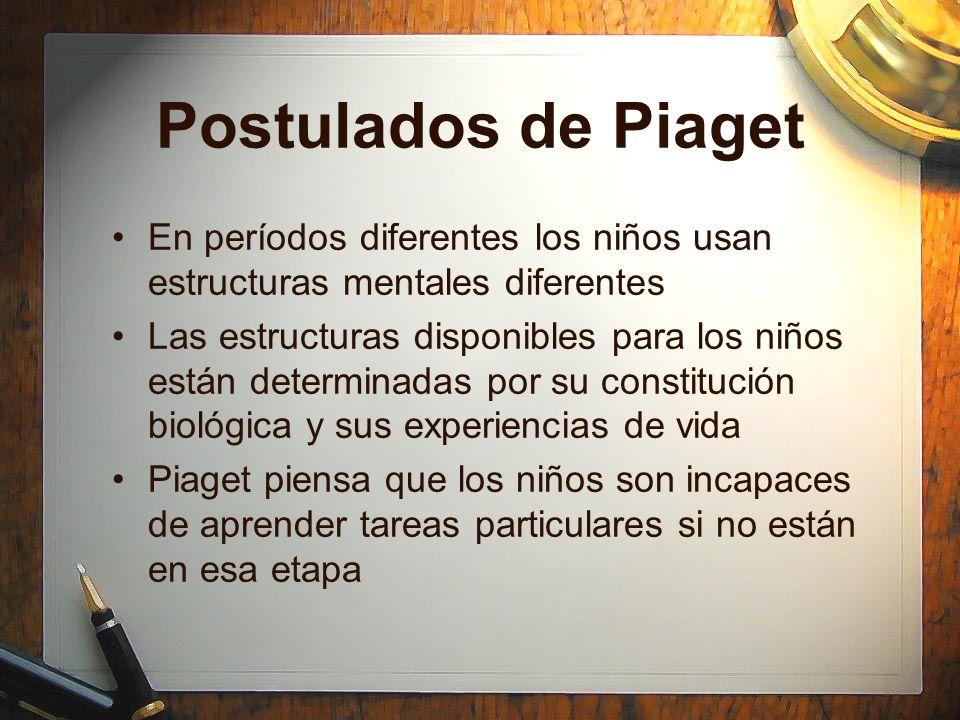 Postulados de Piaget En períodos diferentes los niños usan estructuras mentales diferentes Las estructuras disponibles para los niños están determinad