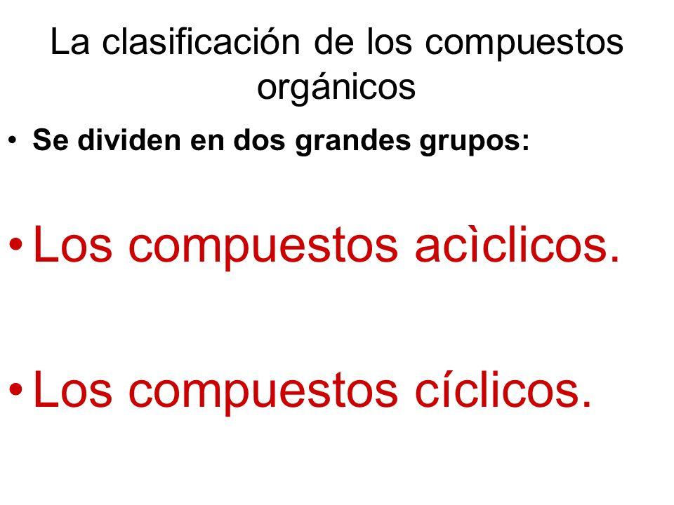 La clasificación de los compuestos orgánicos Se dividen en dos grandes grupos: Los compuestos acìclicos. Los compuestos cíclicos.