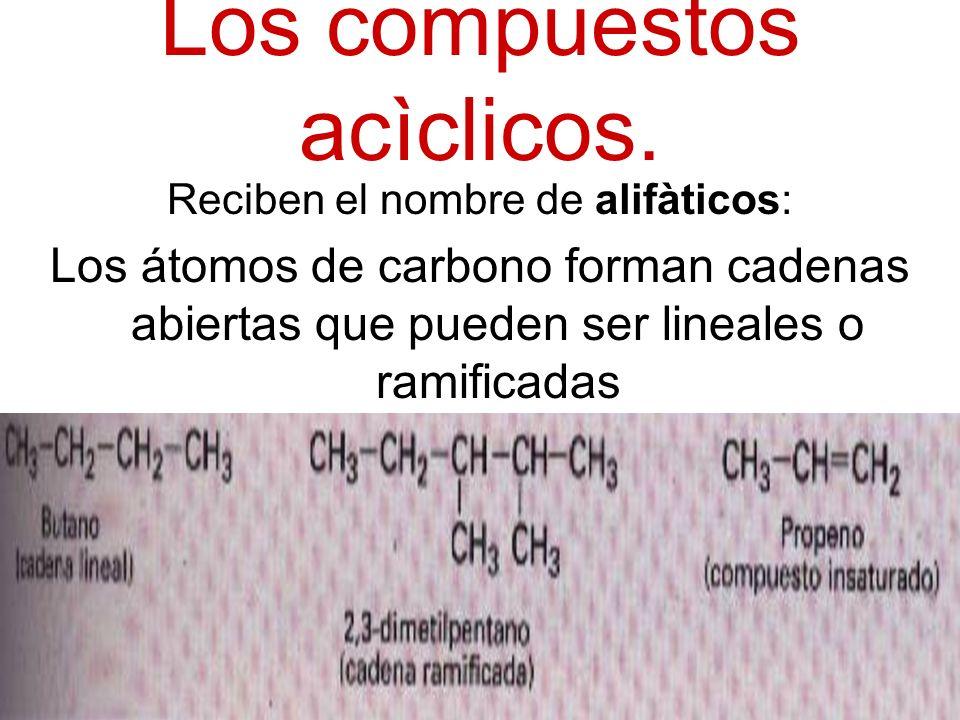 Los compuestos acìclicos. Reciben el nombre de alifàticos: Los átomos de carbono forman cadenas abiertas que pueden ser lineales o ramificadas