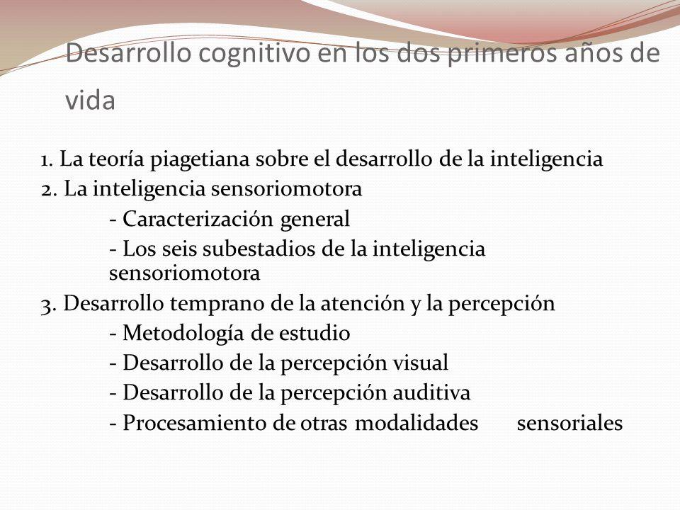 Desarrollo cognitivo en los dos primeros años de vida 1. La teoría piagetiana sobre el desarrollo de la inteligencia 2. La inteligencia sensoriomotora