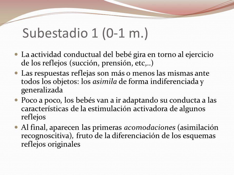 Subestadio 1 (0-1 m.) La actividad conductual del bebé gira en torno al ejercicio de los reflejos (succión, prensión, etc,..) Las respuestas reflejas