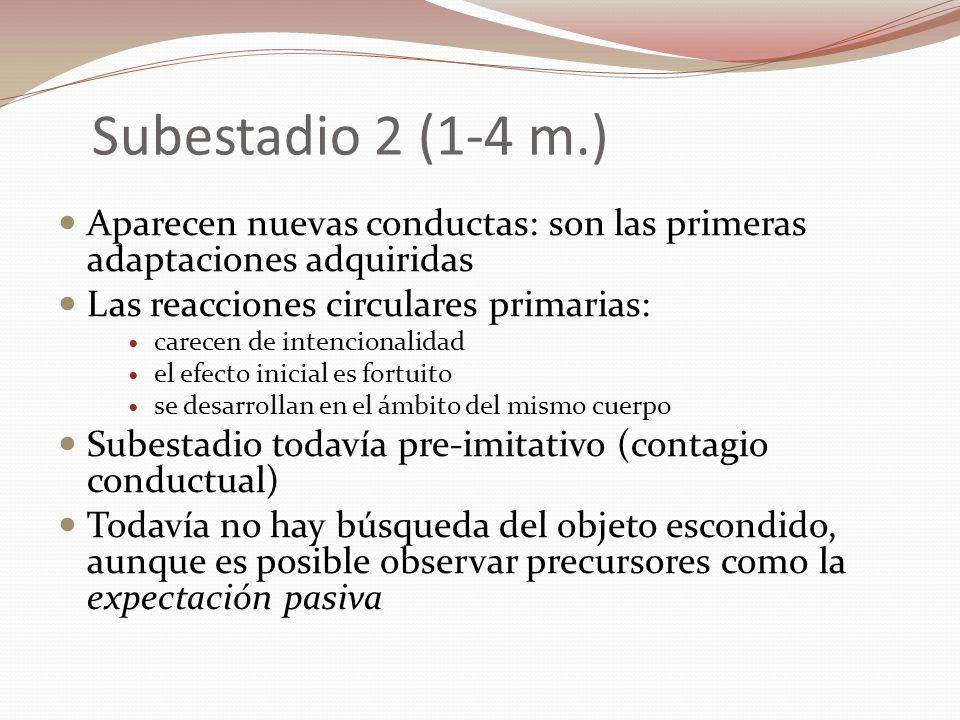 Subestadio 2 (1-4 m.) Aparecen nuevas conductas: son las primeras adaptaciones adquiridas Las reacciones circulares primarias: carecen de intencionali