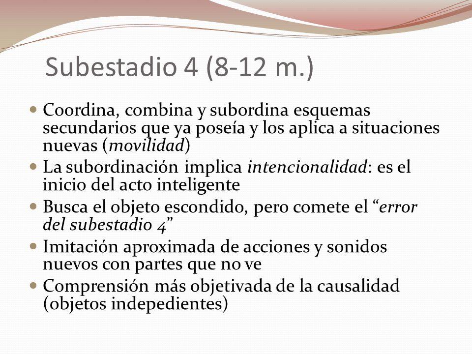 Subestadio 4 (8-12 m.) Coordina, combina y subordina esquemas secundarios que ya poseía y los aplica a situaciones nuevas (movilidad) La subordinación