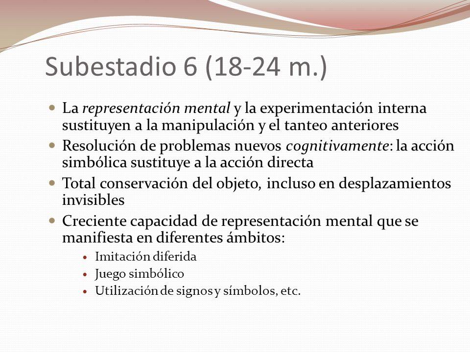 Subestadio 6 (18-24 m.) La representación mental y la experimentación interna sustituyen a la manipulación y el tanteo anteriores Resolución de proble