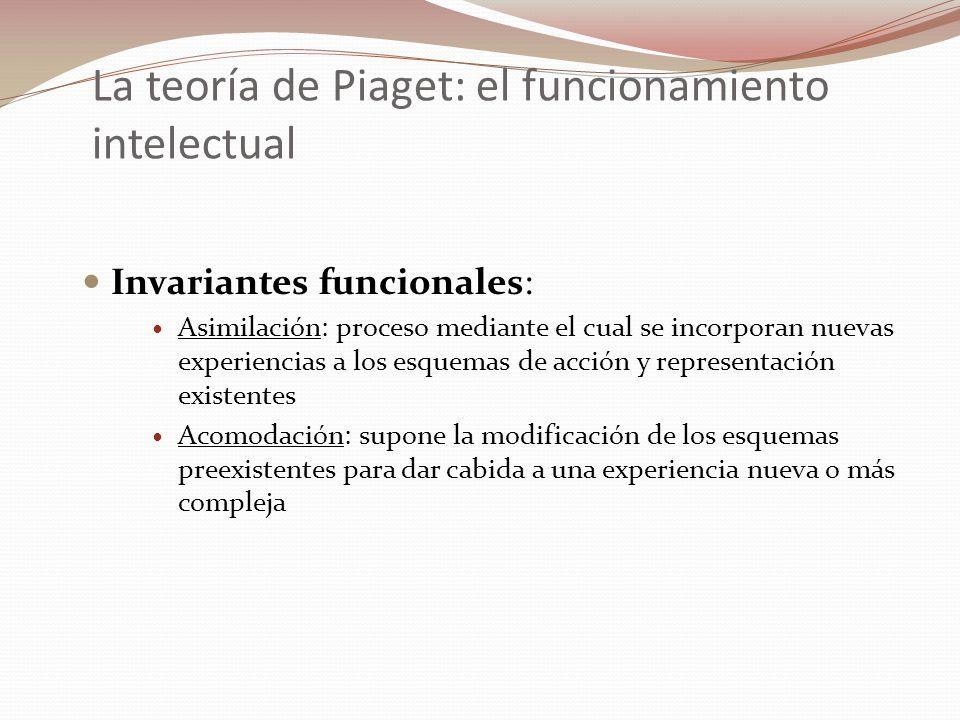 La teoría de Piaget: el funcionamiento intelectual Proceso de equilibración: tras un desajuste en su relación con el mundo, conduce de manera natural al organismo a equilibrar de nuevo este intercambio construyendo respuestas nuevas y alcanzando niveles de adaptación cada vez más elaborados y complejos