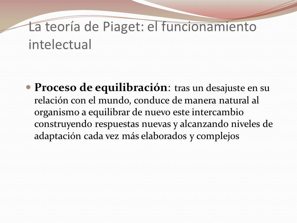 La teoría de Piaget: el funcionamiento intelectual Proceso de equilibración: tras un desajuste en su relación con el mundo, conduce de manera natural