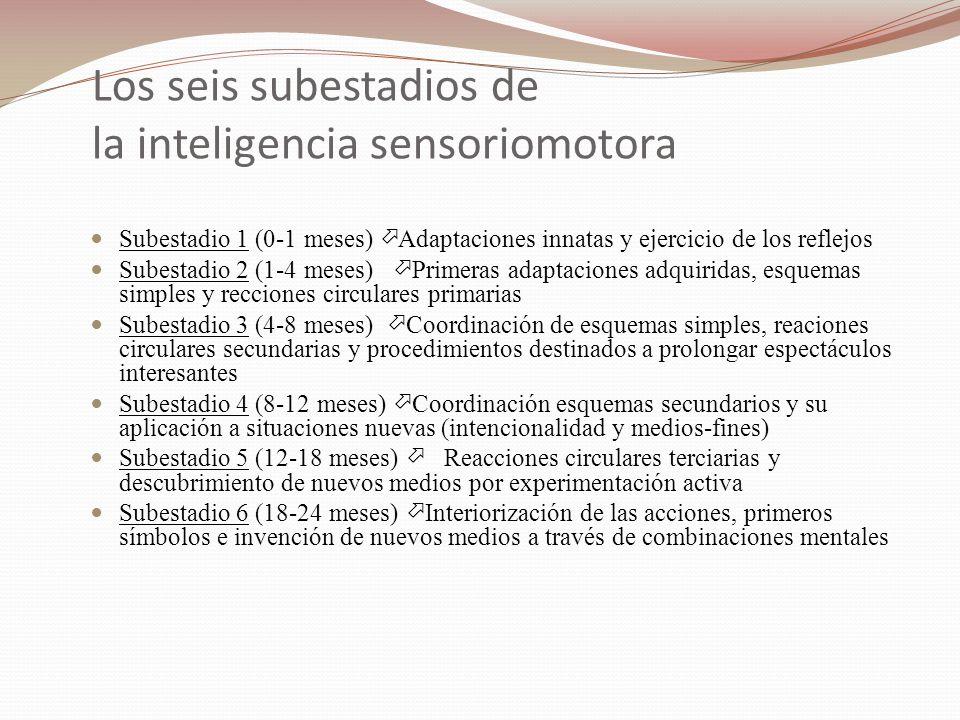 Los seis subestadios de la inteligencia sensoriomotora Subestadio 1 (0-1 meses) ö Adaptaciones innatas y ejercicio de los reflejos Subestadio 2 (1-4 m