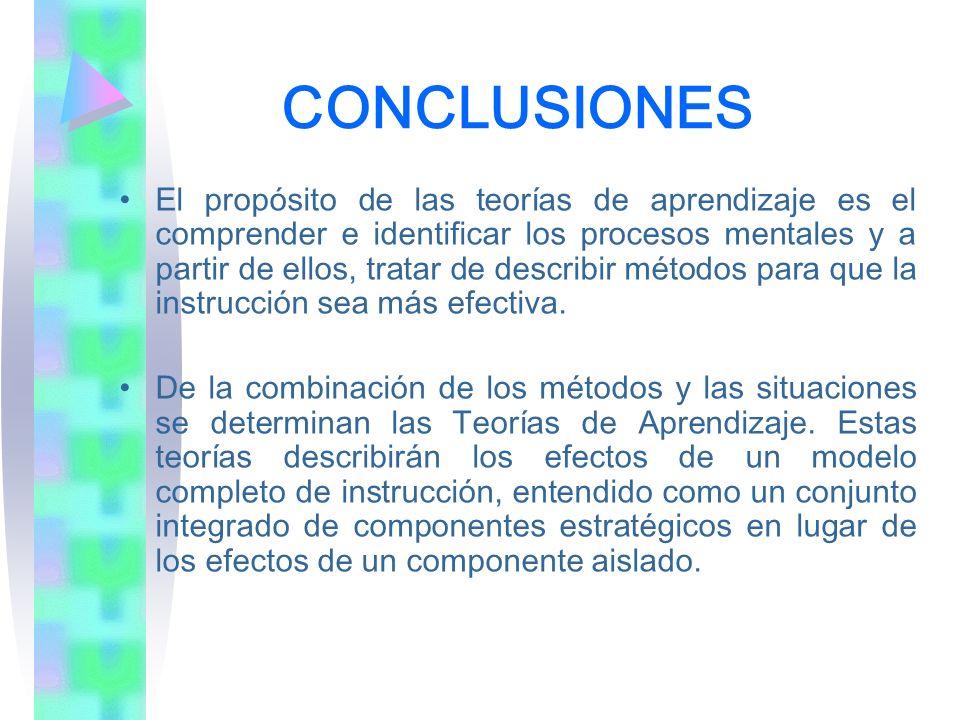 CONCLUSIONES El propósito de las teorías de aprendizaje es el comprender e identificar los procesos mentales y a partir de ellos, tratar de describir