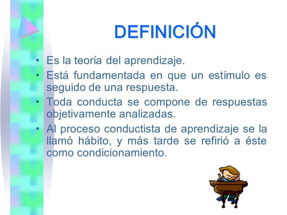 DEFINICIÓN Es la teoría del aprendizaje. Está fundamentada en que un estímulo es seguido de una respuesta. Toda conducta se compone de respuestas obje