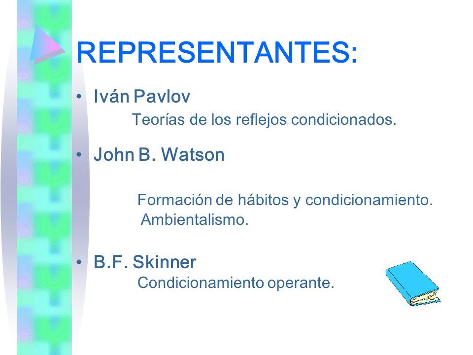 REPRESENTANTES: Iván Pavlov Teorías de los reflejos condicionados. John B. Watson Formación de hábitos y condicionamiento. Ambientalismo. B.F. Skinner