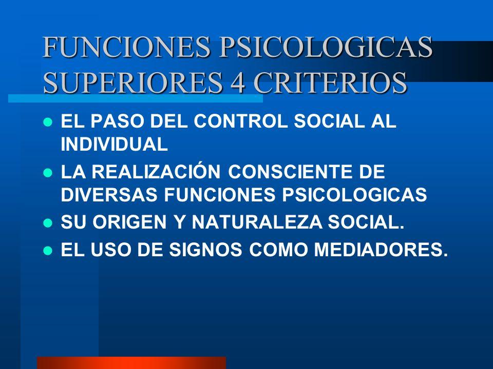 FUNCIONES PSICOLOGICAS SUPERIORES 4 CRITERIOS EL PASO DEL CONTROL SOCIAL AL INDIVIDUAL LA REALIZACIÓN CONSCIENTE DE DIVERSAS FUNCIONES PSICOLOGICAS SU