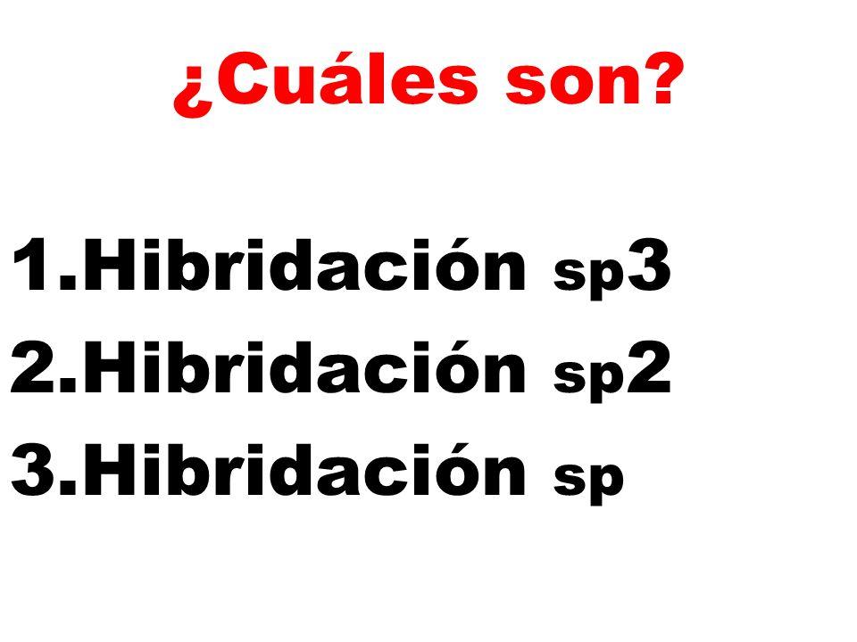 ¿Cuáles son? 1.Hibridación sp 3 2.Hibridación sp 2 3.Hibridación sp