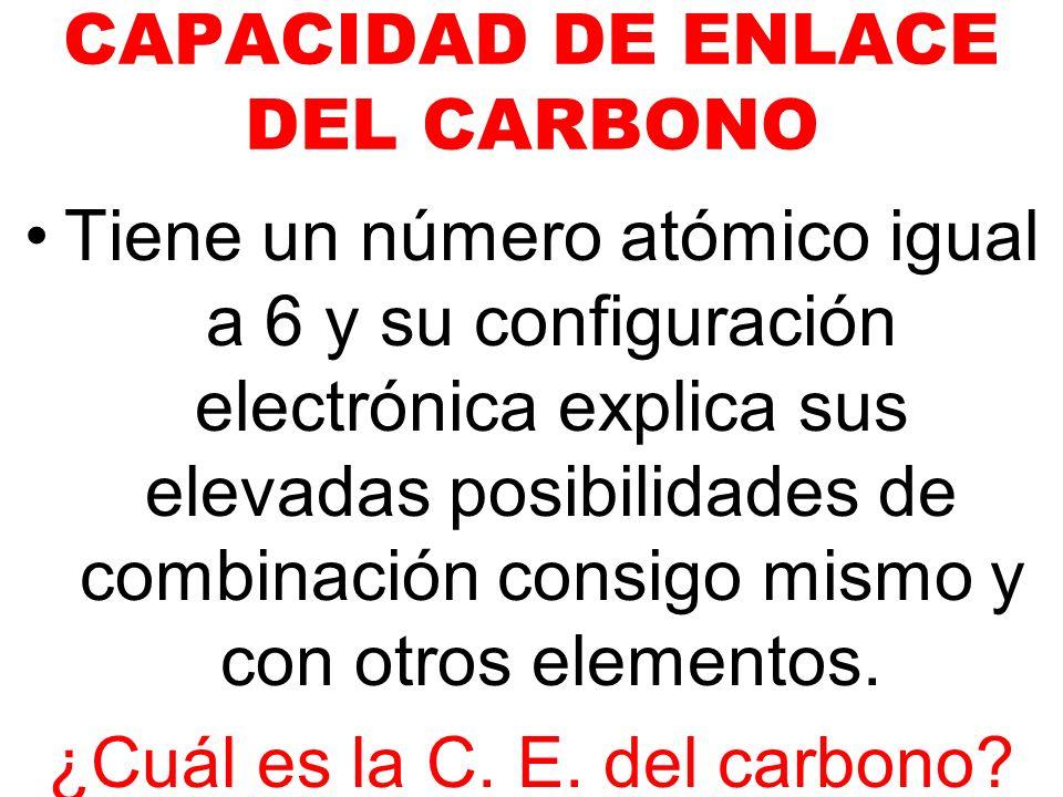 CAPACIDAD DE ENLACE DEL CARBONO Tiene un número atómico igual a 6 y su configuración electrónica explica sus elevadas posibilidades de combinación con