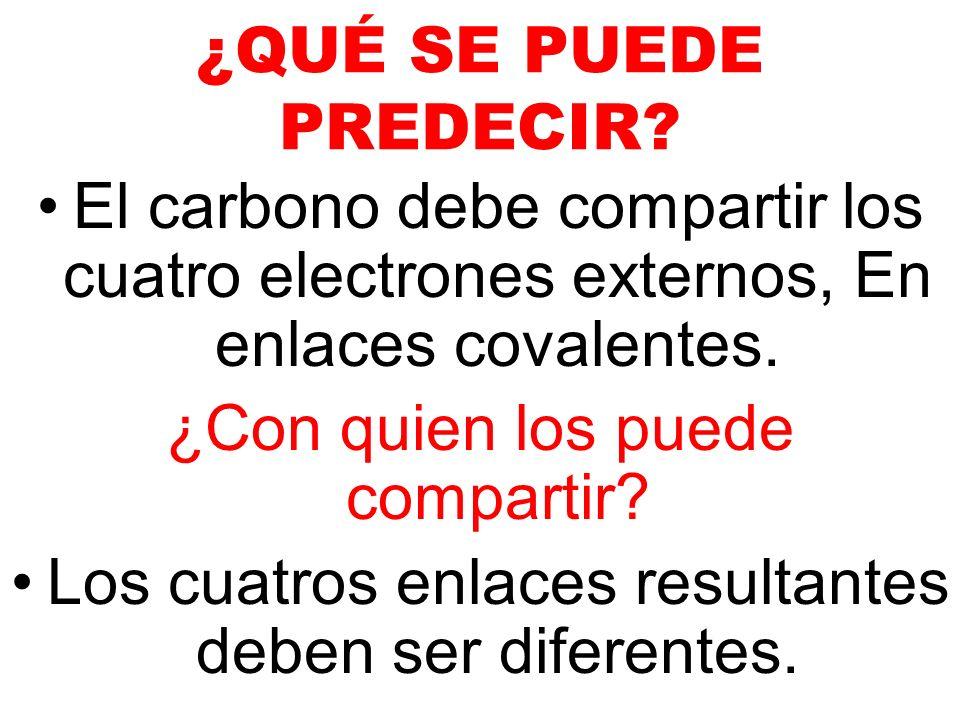 ¿QUÉ SE PUEDE PREDECIR? El carbono debe compartir los cuatro electrones externos, En enlaces covalentes. ¿Con quien los puede compartir? Los cuatros e