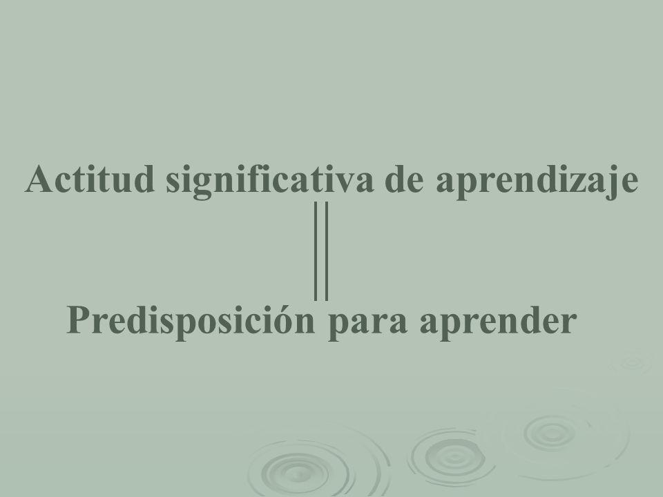 Actitud significativa de aprendizaje Predisposición para aprender