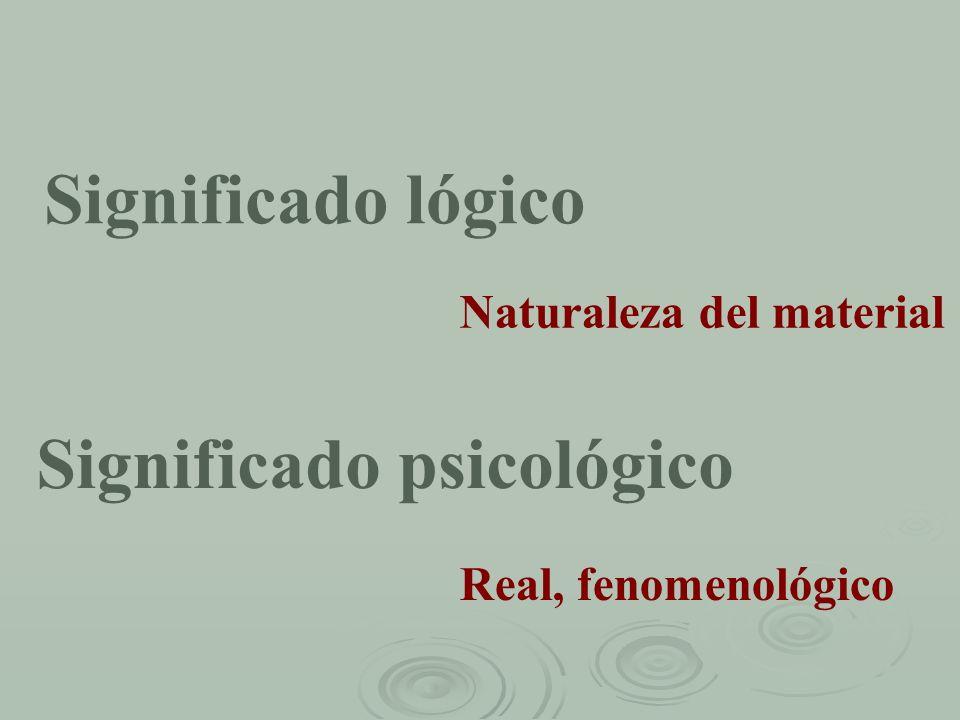 Significado lógico Significado psicológico Naturaleza del material Real, fenomenológico