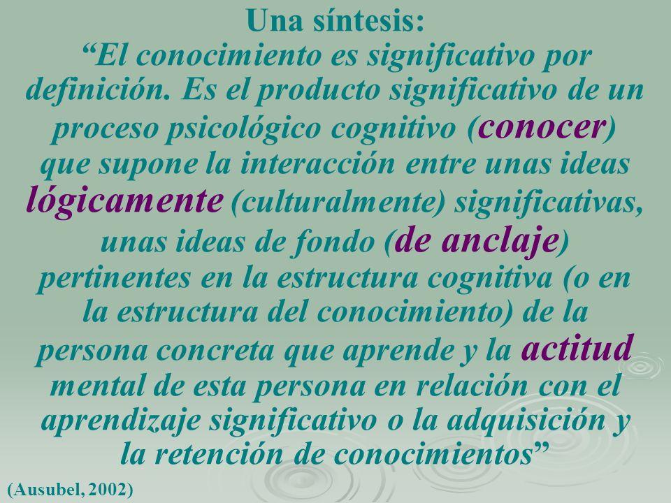 Una síntesis: El conocimiento es significativo por definición. Es el producto significativo de un proceso psicológico cognitivo ( conocer ) que supone