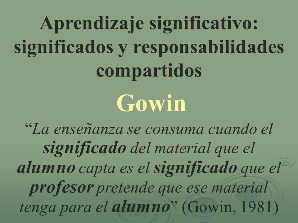 Aprendizaje significativo: significados y responsabilidades compartidos Gowin La enseñanza se consuma cuando el significado del material que el alumno