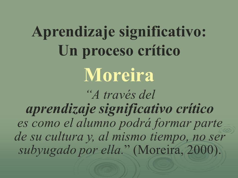 Aprendizaje significativo: Un proceso crítico Moreira A través del aprendizaje significativo crítico es como el alumno podrá formar parte de su cultur