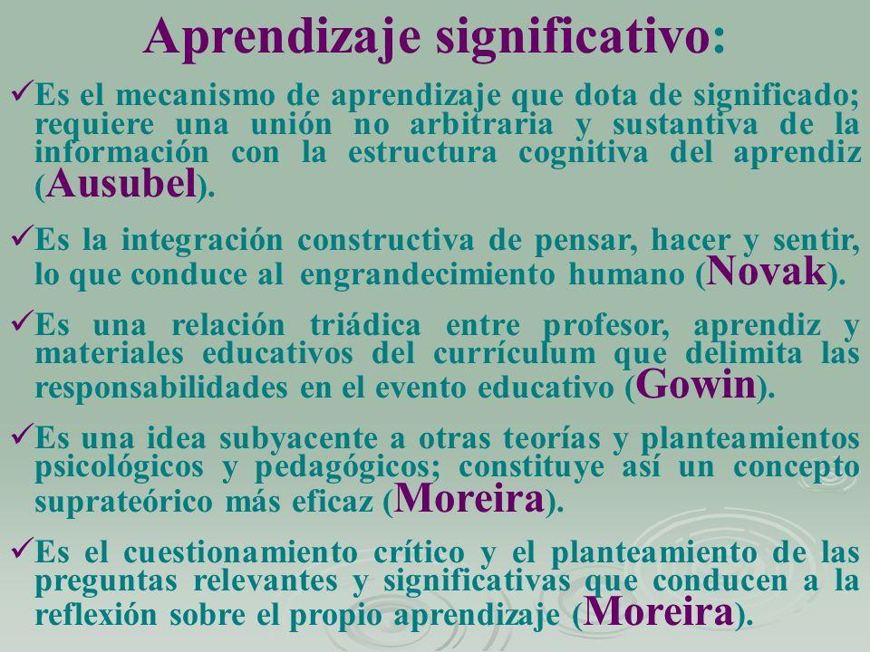 Aprendizaje significativo: Es el mecanismo de aprendizaje que dota de significado; requiere una unión no arbitraria y sustantiva de la información con