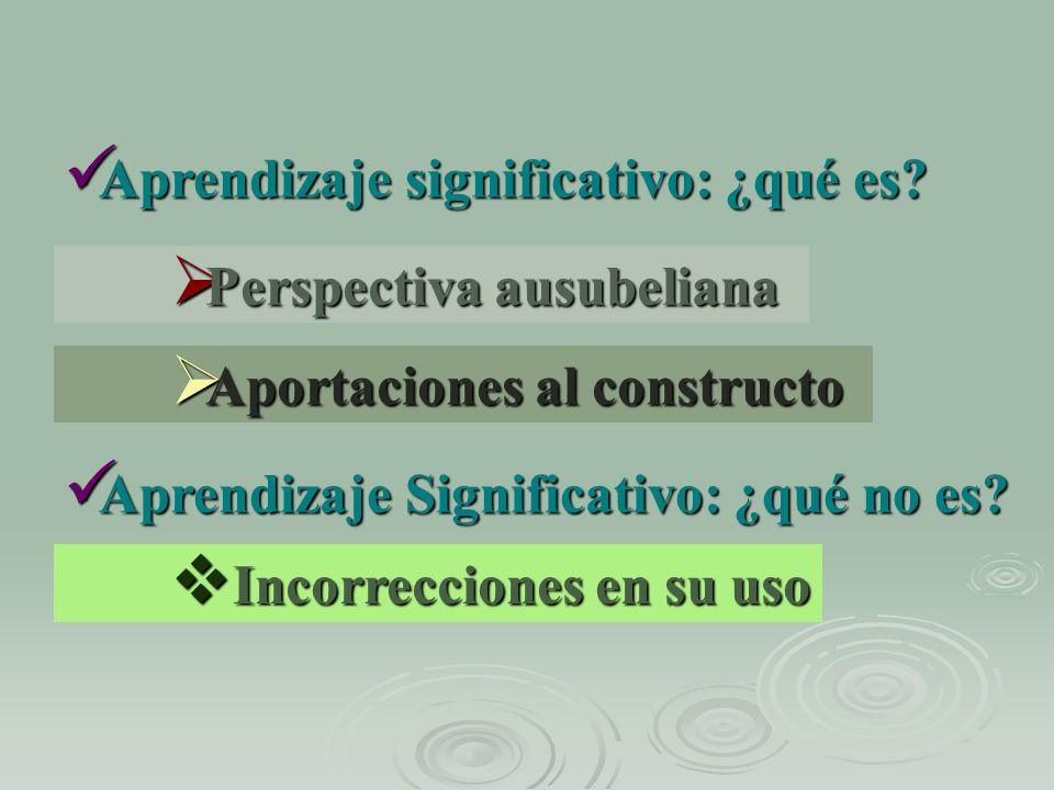 Aprendizaje significativo: ¿qué es? Aprendizaje significativo: ¿qué es? Perspectiva ausubeliana Perspectiva ausubeliana Aportaciones al constructo Apo