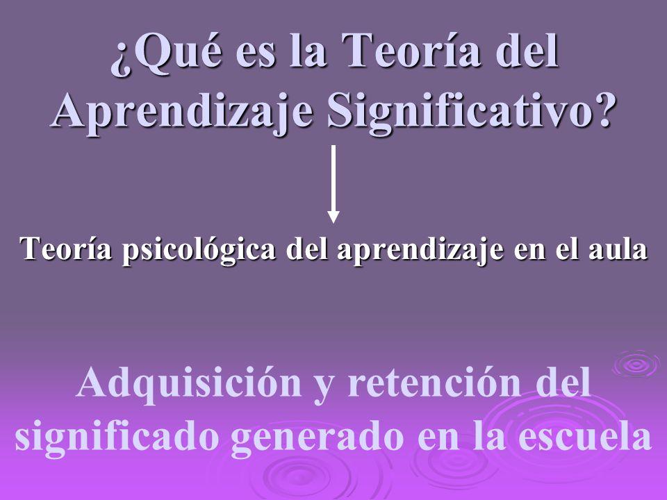 ¿Qué es la Teoría del Aprendizaje Significativo? Teoría psicológica del aprendizaje en el aula Adquisición y retención del significado generado en la