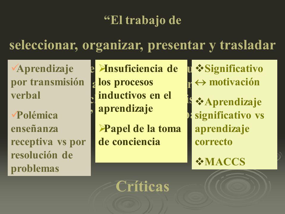El trabajo de seleccionar, organizar, presentar y trasladar el contenido de la materia de estudio de manera que se adecue a la etapa de desarrollo de