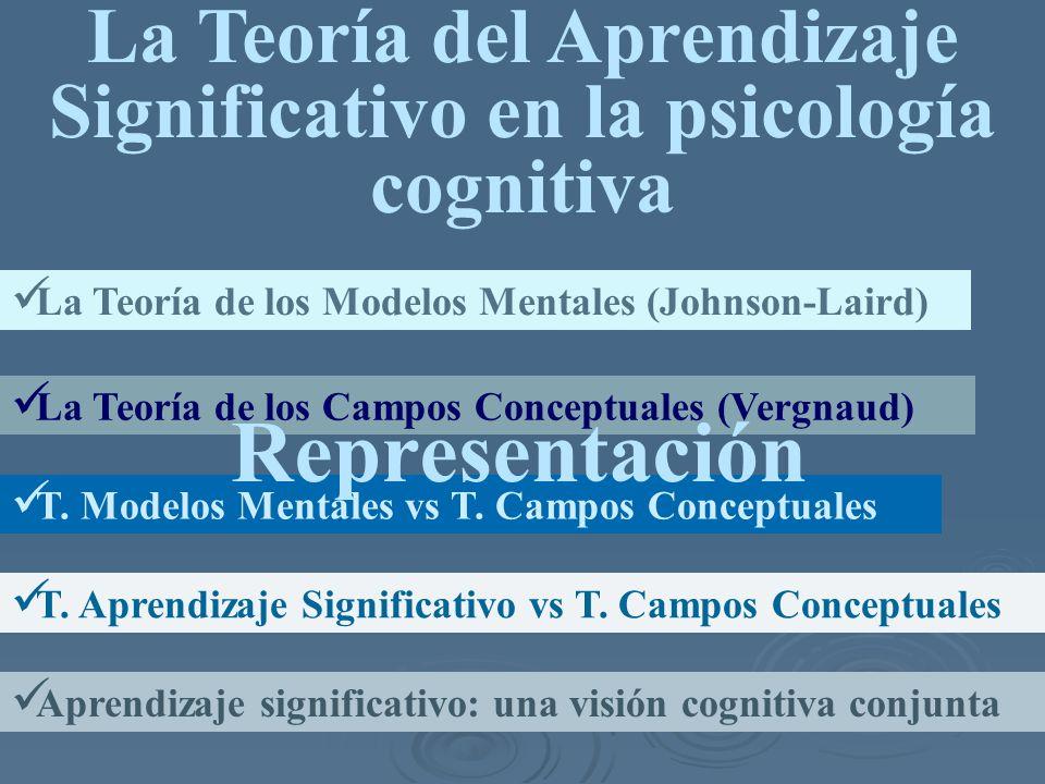 La Teoría del Aprendizaje Significativo en la psicología cognitiva La Teoría de los Modelos Mentales (Johnson-Laird) La Teoría de los Campos Conceptua
