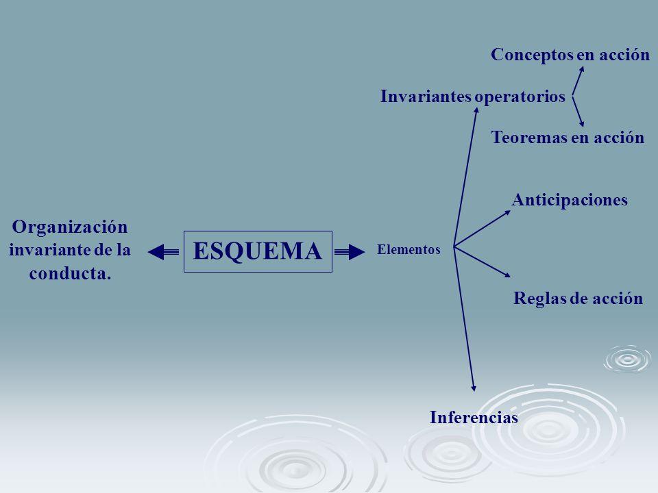 ESQUEMA Organización invariante de la conducta. Elementos Invariantes operatorios Anticipaciones Inferencias Reglas de acción Conceptos en acción Teor
