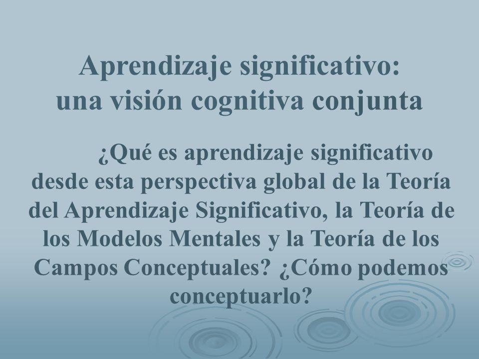 ¿Qué es aprendizaje significativo desde esta perspectiva global de la Teoría del Aprendizaje Significativo, la Teoría de los Modelos Mentales y la Teo