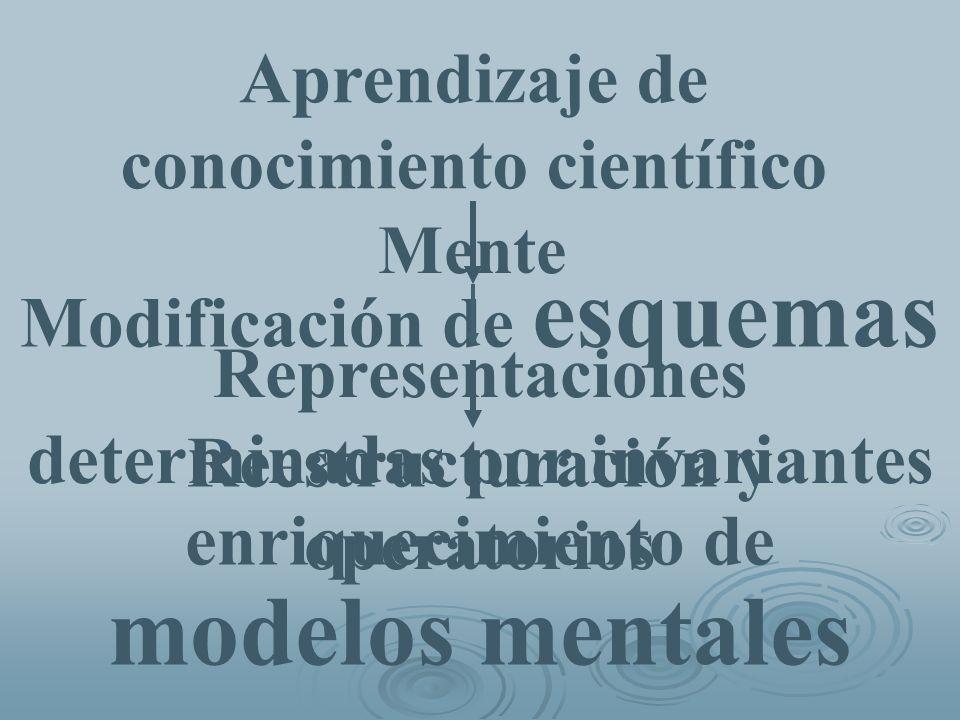 Mente Representaciones determinadas por invariantes operatorios Aprendizaje de conocimiento científico Modificación de esquemas Reestructuración y enr