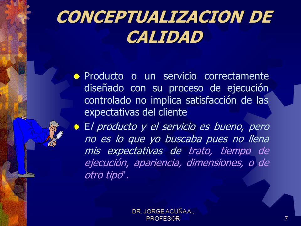 DR. JORGE ACUÑA A., PROFESOR6 CONCEPTUALIZACION DE CALIDAD Calidad: término abstracto que define las propiedades de un producto o servicio de acuerdo