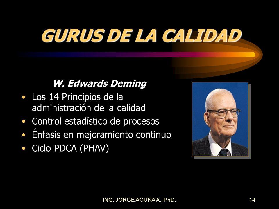 ING. JORGE ACUÑA A., PhD.13 CALIDAD EN LA FUENTE La meta es producir con alta calidad de tal manera que productos o servicios no conformes nunca llegu