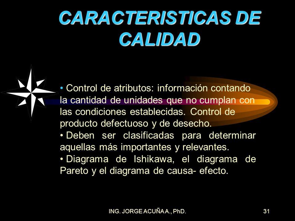 ING. JORGE ACUÑA A., PhD.30 CARACTERISTICAS DE CALIDAD Características variables = medibles (longitud, temperatura, presión, humedad y pH) o contables