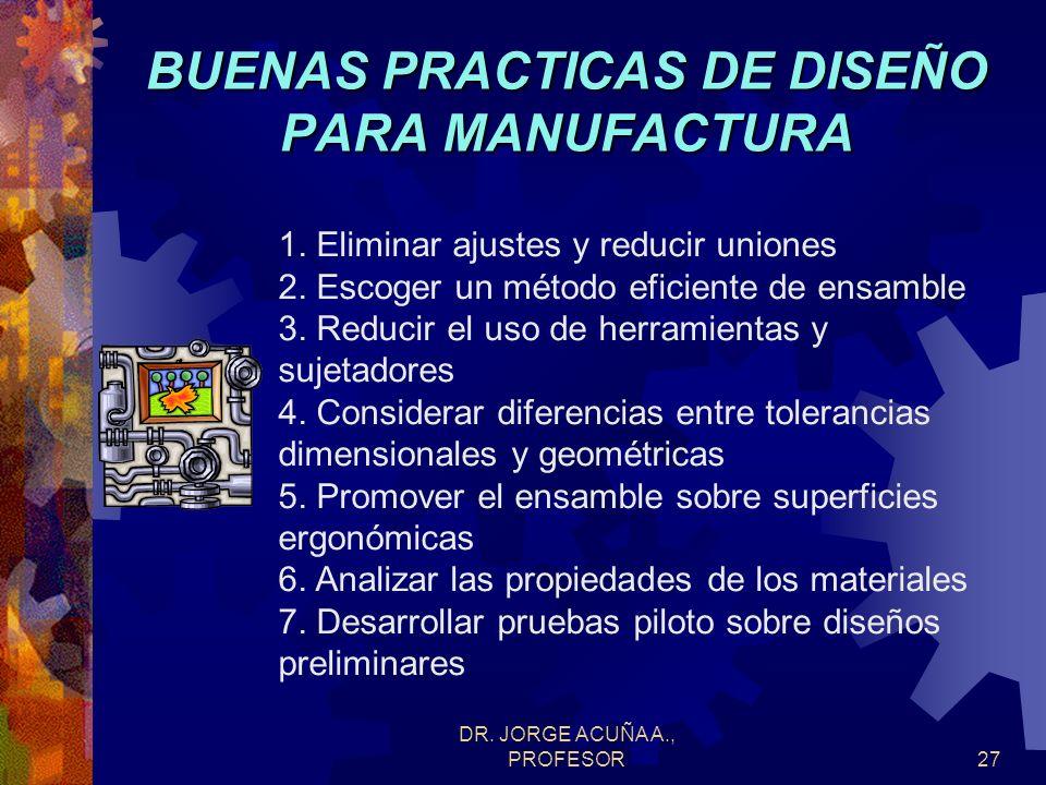DR. JORGE ACUÑA A., PROFESOR26 DISEÑO PARA LA MANUFACTURA DEFINICION Es la práctica de diseñar productos con las características y limitaciones de man