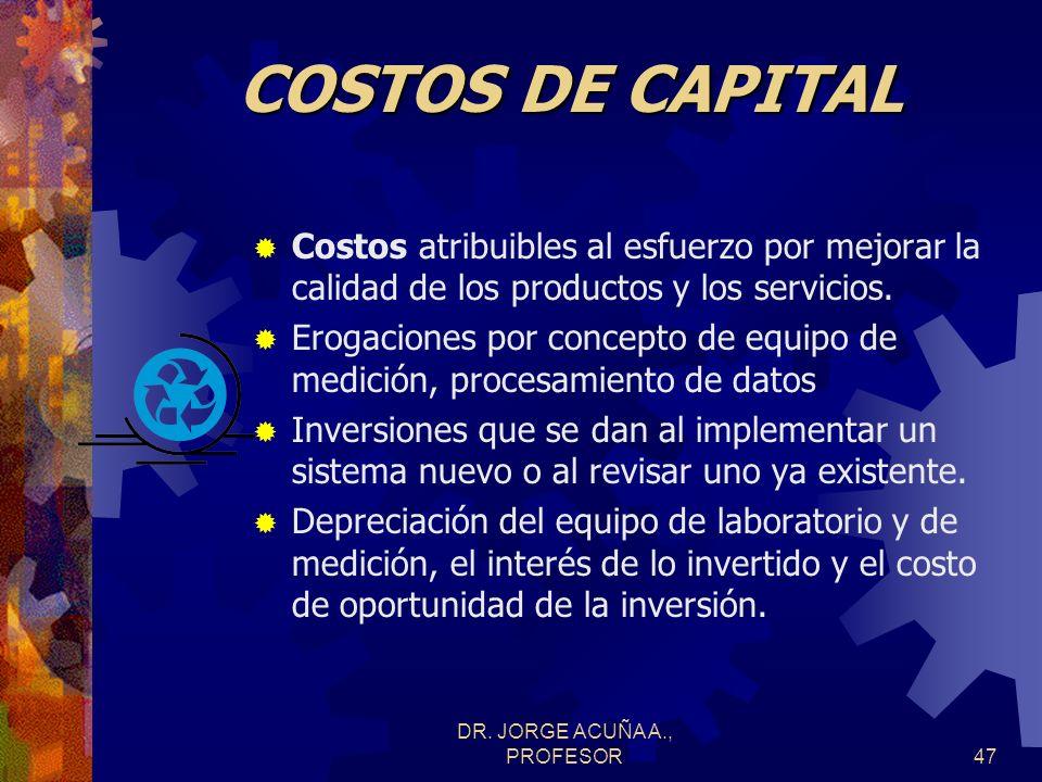 DR. JORGE ACUÑA A., PROFESOR46 Costos de calidad Costos de capital DepreciaciónInterésOportunidad Costos De operación EvaluaciónPrevenciónFallas Inter