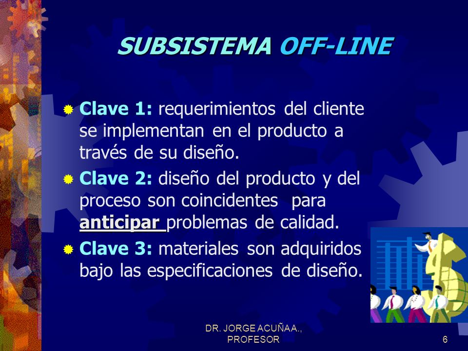 DR. JORGE ACUÑA A., PROFESOR5 SISTEMA DE CALIDAD COMPONENTES SUBSISTEMA OFF-LINE (Control de actividades fuera de almacenes y líneas de producción) SU