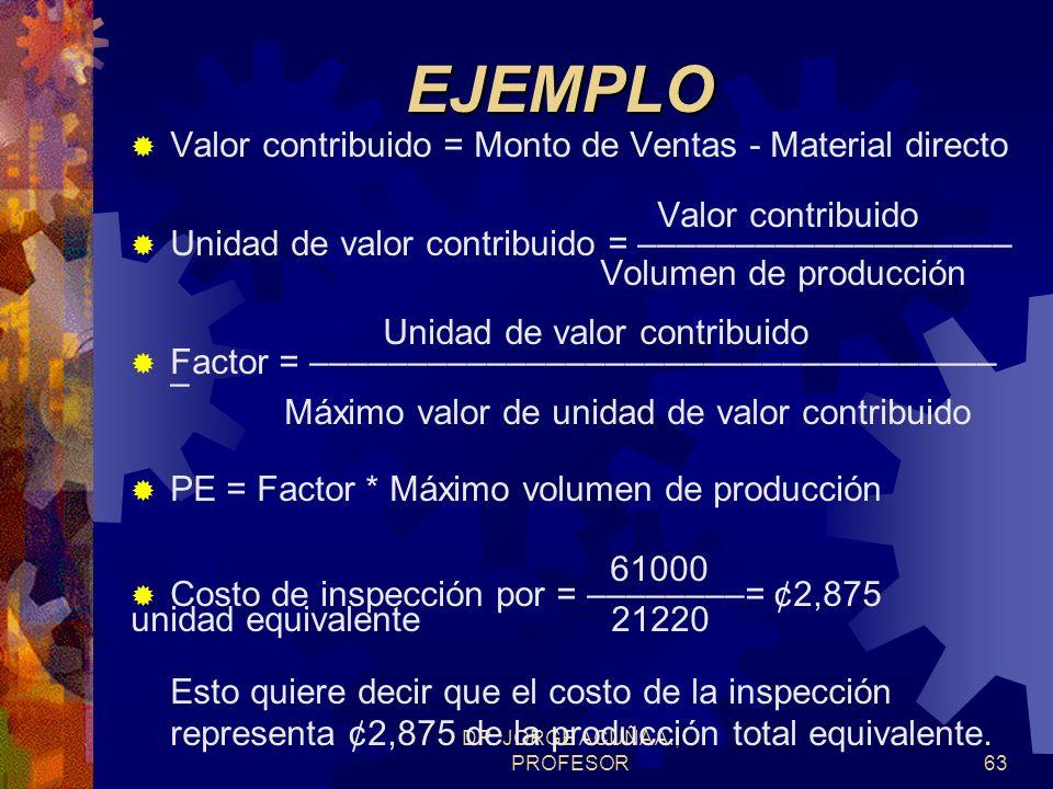 DR. JORGE ACUÑA A., PROFESOR62EJEMPLO Calcular la producción equivalente usando el valor contribuido, la unidad de valor contribuido y un factor de co