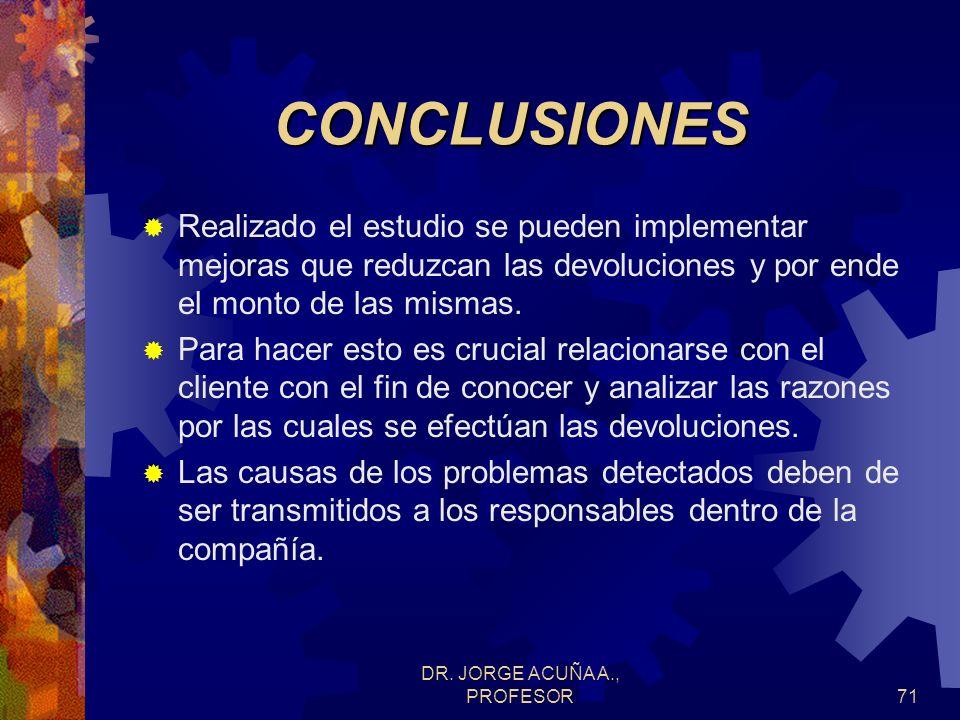DR. JORGE ACUÑA A., PROFESOR70EJEMPLO Observar que el monto correspondiente a devoluciones es bastante inestable, mostrando puntos fuera de control, l