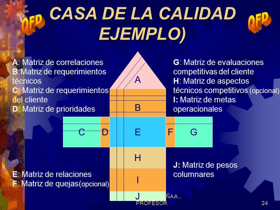 DR. JORGE ACUÑA A., PROFESOR23 MATRIZ DE INFORMACION DEL CLIENTE (QUES) (INGREDIENTES BASICOS) MATRIZ DE INFORMACION DEL CLIENTE (QUES) (INGREDIENTES