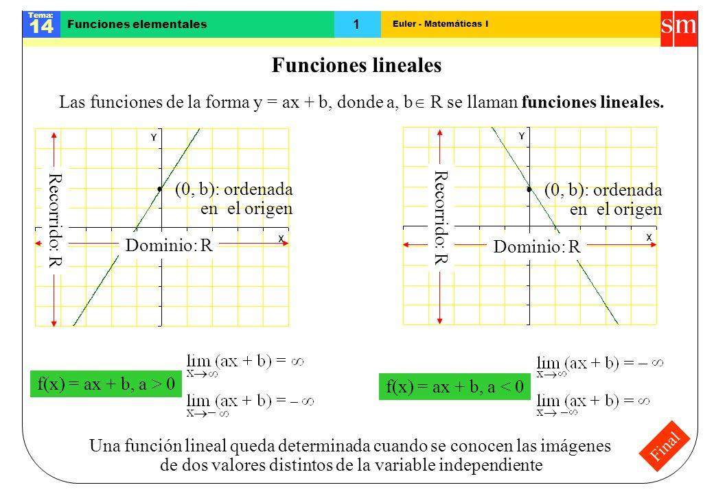 Euler - Matemáticas I Tema: 14 1 Funciones elementales Final Funciones lineales Las funciones de la forma y = ax + b, donde a, b R se llaman funciones