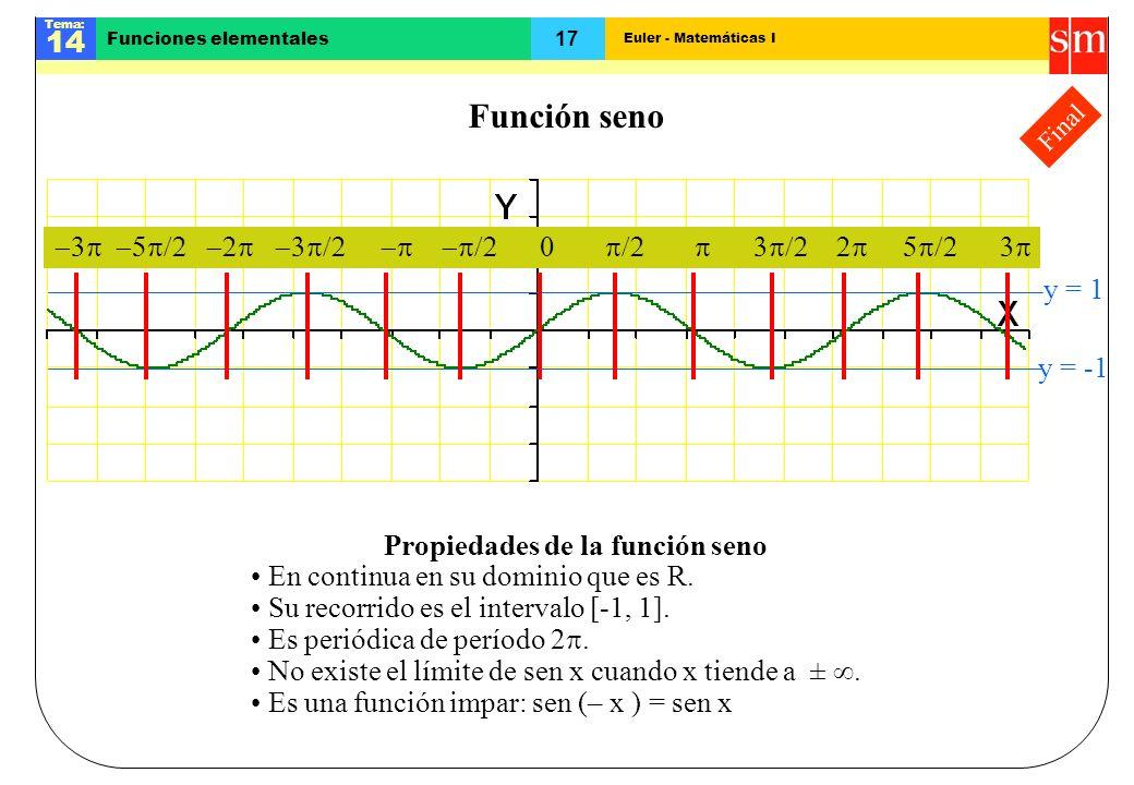Euler - Matemáticas I Tema: 14 17 Funciones elementales Final Función seno y = 1 y = -1 3 Propiedades de la función seno En continua en su dominio que