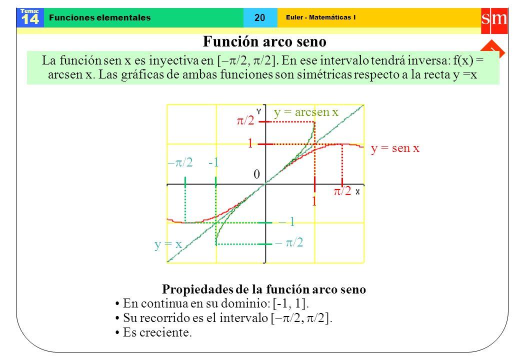Euler - Matemáticas I Tema: 14 20 Funciones elementales Final Función arco seno Propiedades de la función arco seno En continua en su dominio: [-1, 1]