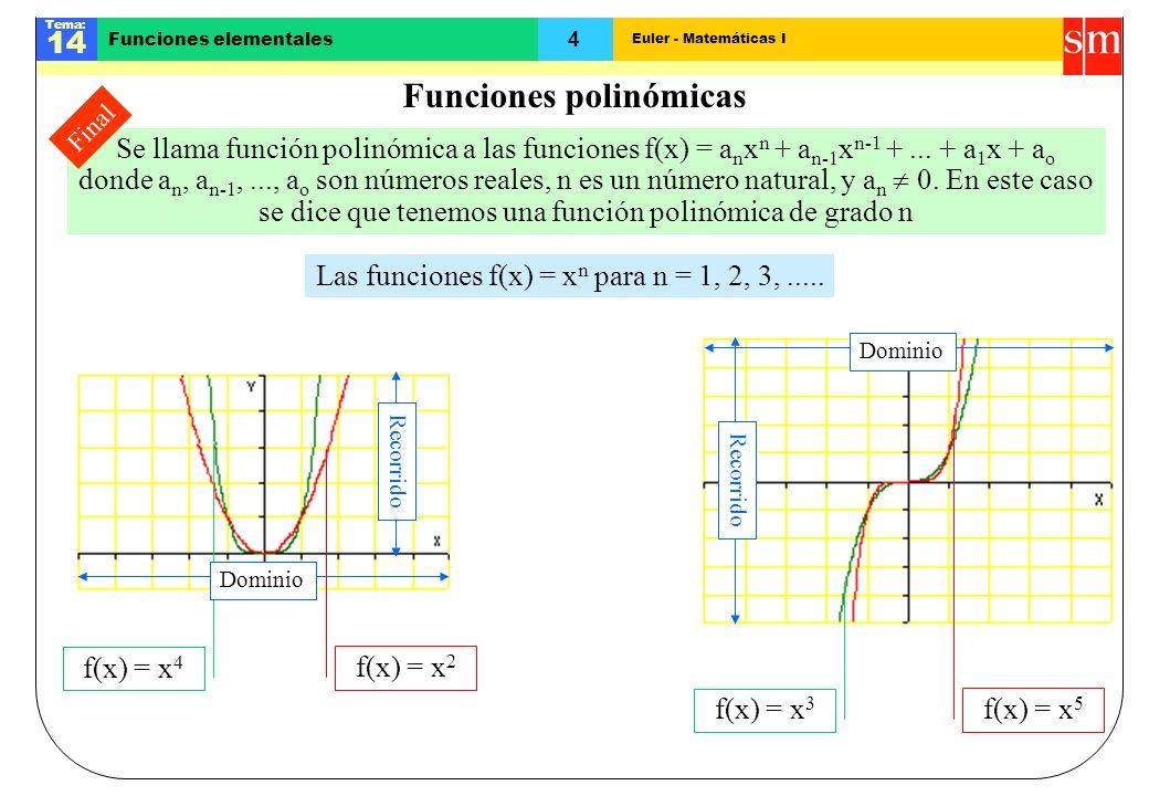 Euler - Matemáticas I Tema: 14 4 Funciones elementales Se llama función polinómica a las funciones f(x) = a n x n + a n-1 x n-1 +... + a 1 x + a o don